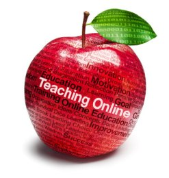 image of an apple with teaching online written on it