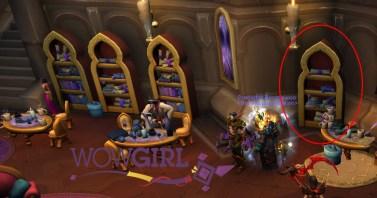 A estante estará sozinha, no meio do Salão da Destreza.