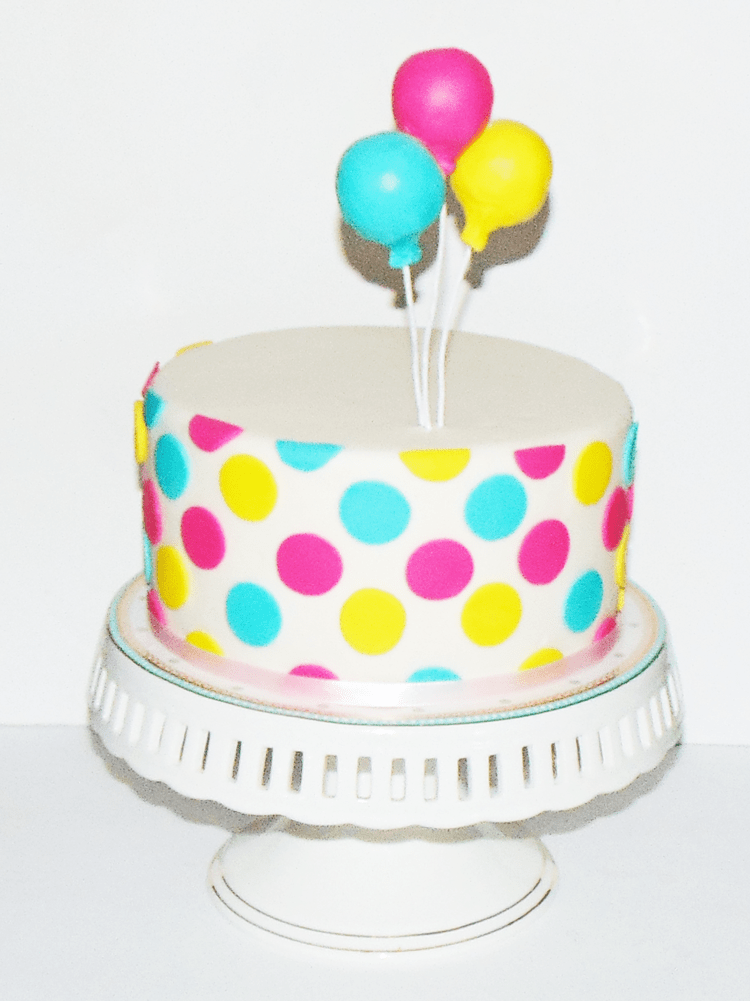 How To Make An Easy Polka Dot Cake With Balloon Wow Is That Really Edible Custom Cakes Cake Decorating Tutorials