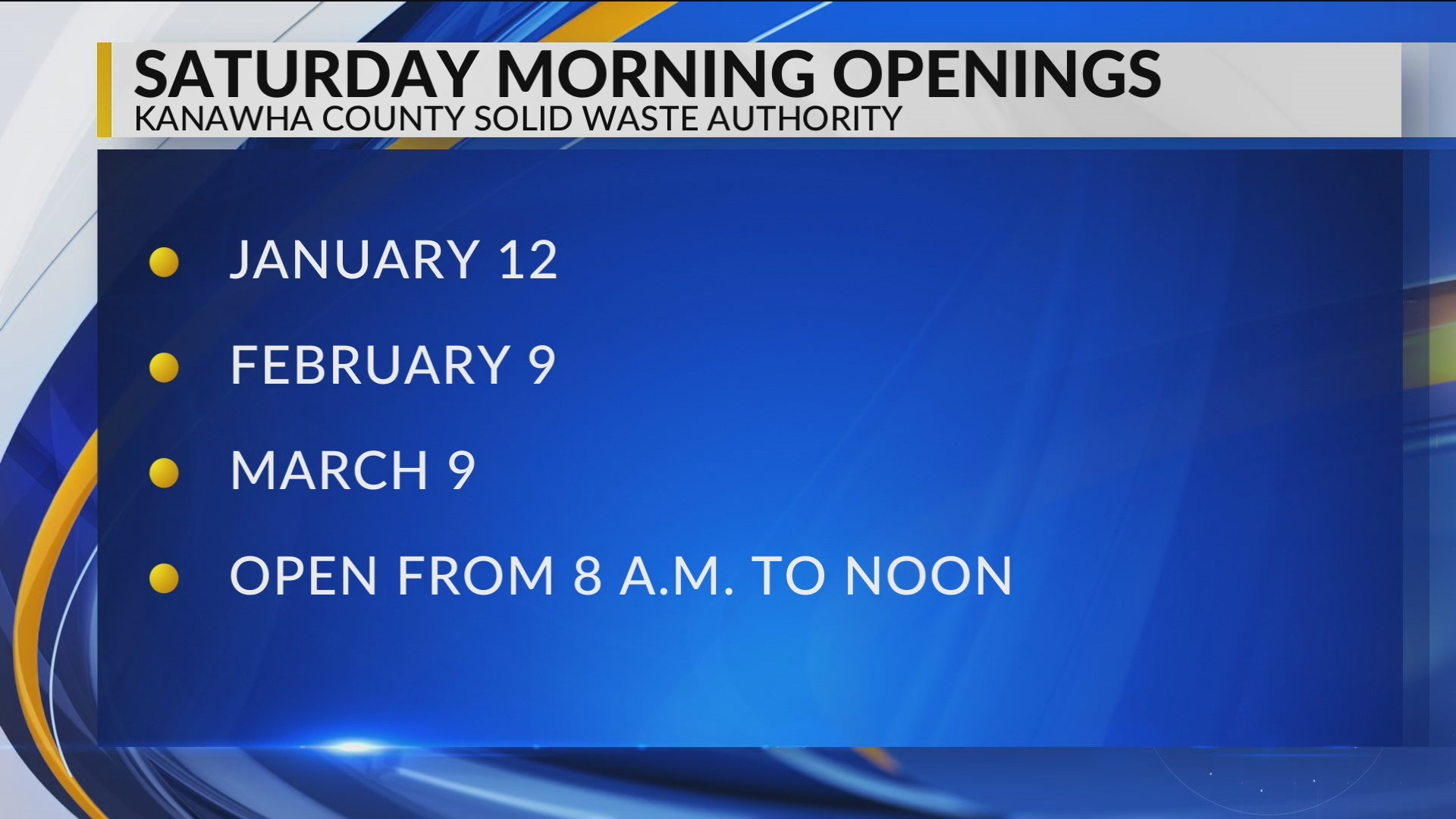 Kanawha County Solid Waste Authority to Open one Saturday each Month