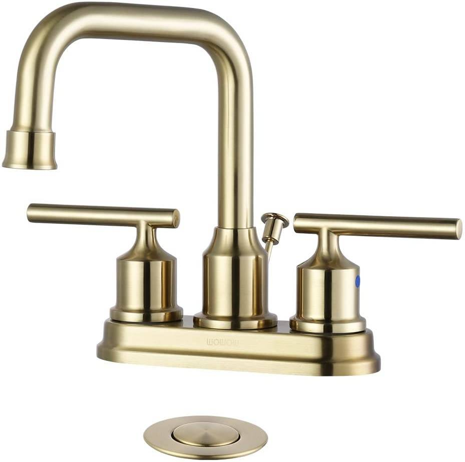 wowow brushed gold bathroom faucet 4 inch bathroom sink faucet 3 hole rv bathroom faucets for sink 2 handle vanity faucet with drain assembly