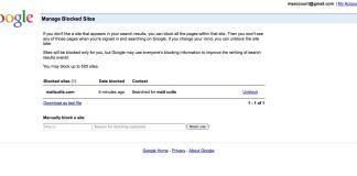 Google Lets You Manage Blocked Sites