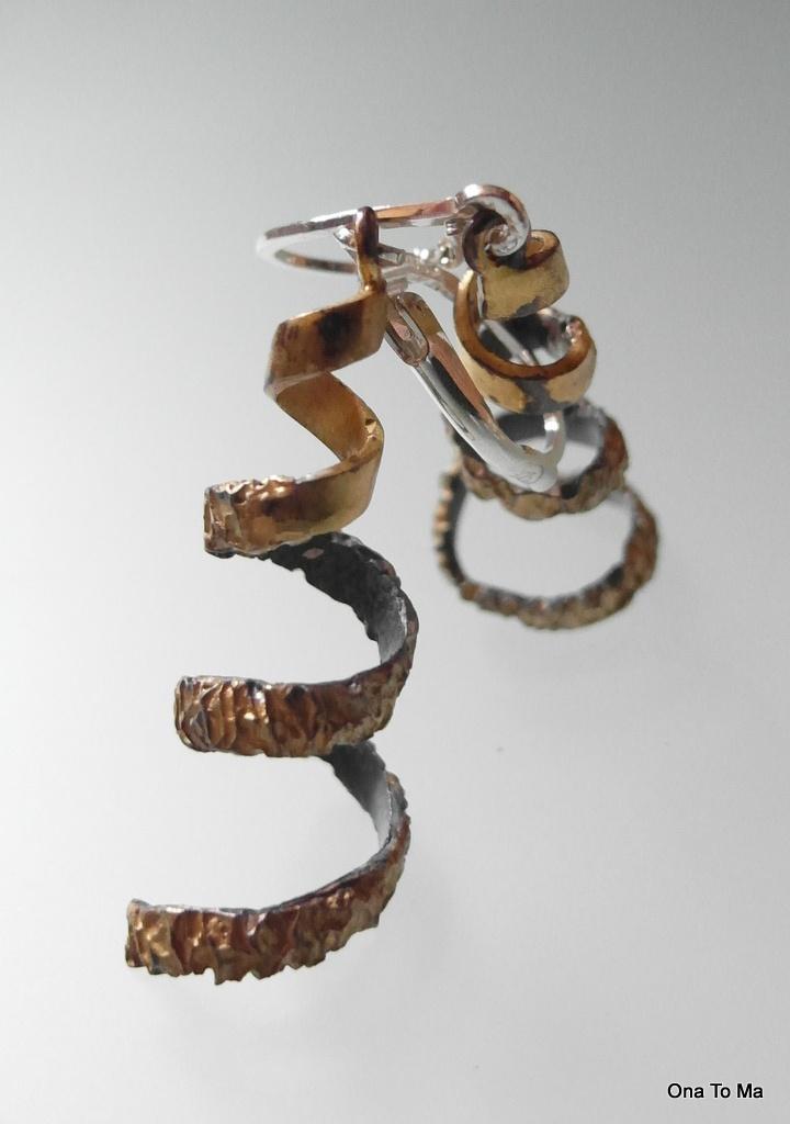 Srebrne pozłacane kolczyki świdry