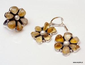 Srebrny komplet Kwiaty z cytrynem