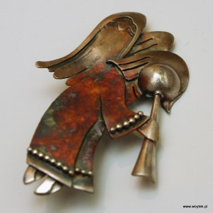 Srebrna broszka Anioł Pochylony