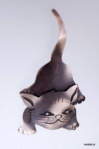 Srebrny broszko-wisior Kot Pionowy