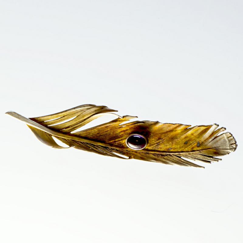 Srebrna broszka Pióro z kamieniem naturalnym