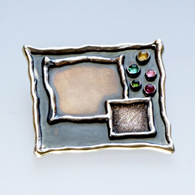 Srebrny broszko-wisior Kwadraty z turmalinami
