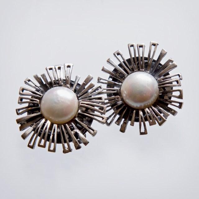 Srebrne klipsy Stokrotki z bursztynem lub perłą