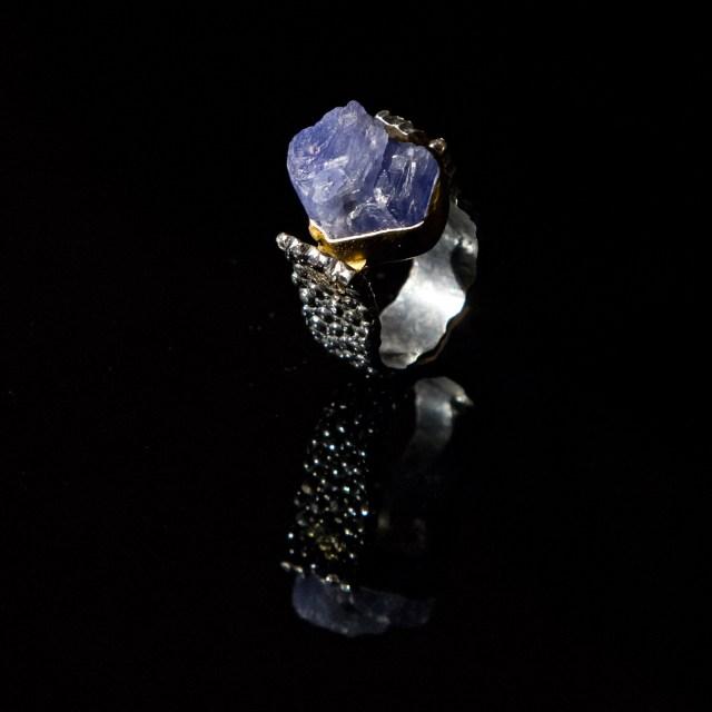 Srebrny Super Pierścień z tanzanitem lub turmalinem