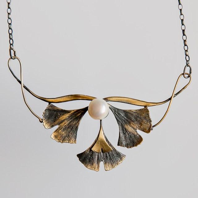 Srebrny naszyjnik Potrójne Ginko z perłą