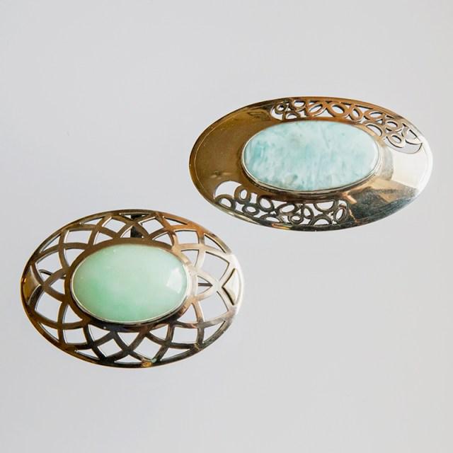 Srebrna broszka lub broszko-wisior Owalna Wycinanka z kamieniami naturalnymi