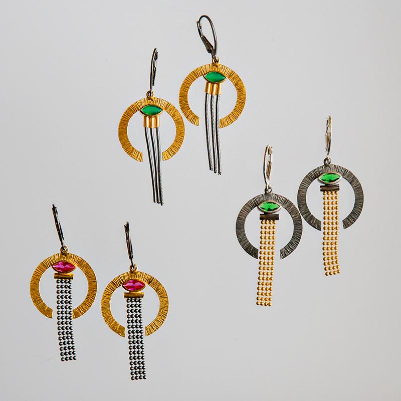 Srebrne kolczyki Art Déco Półkola z cyrkoniami i linkami