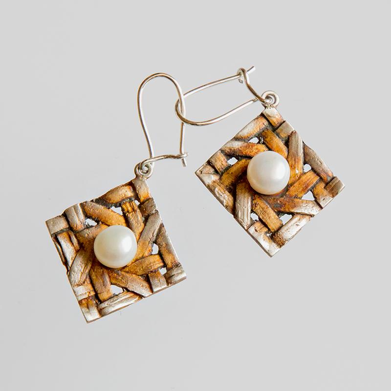 Srebrne kolczyki Tkane z perłą