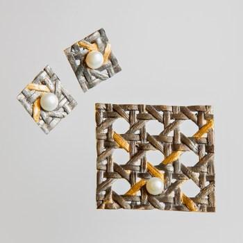 Srebrna broszka Tkana z perłą