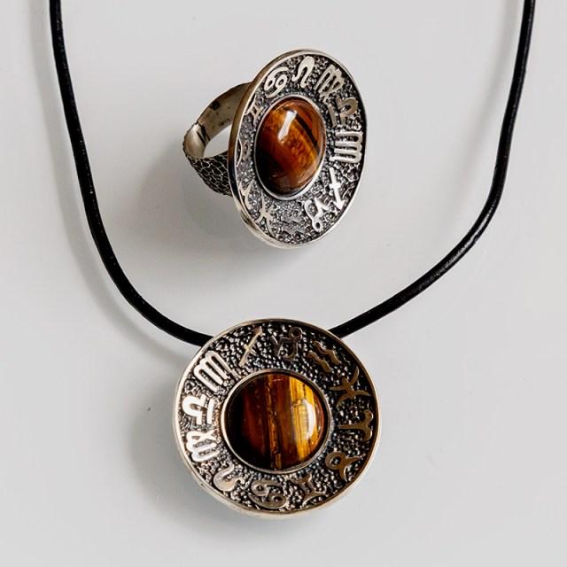 Srebrny wisior Zodiak z kamieniem naturalnym