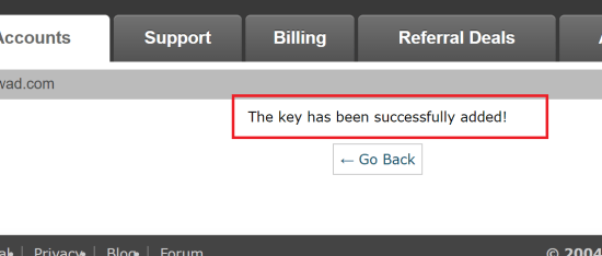 Key has Been Generated in cPanel