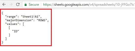 Google Sheets API Returns Json