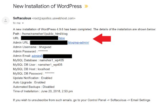WordPress Instllation E-mail
