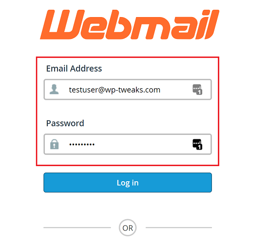 Enter your E-mail Credentials