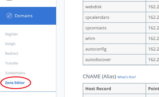 Zone Editor in Bluehost Domains Panel