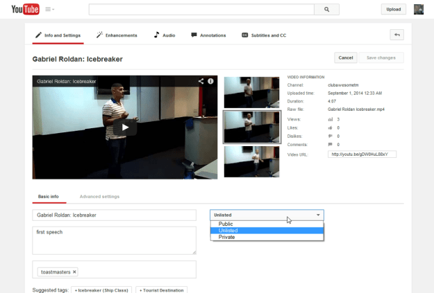 """Setting a YouTube video to """"unlisted"""""""
