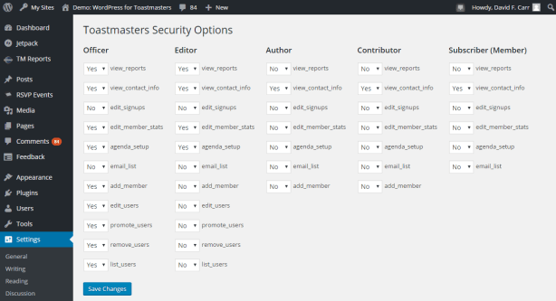 Control over user/member permissions.