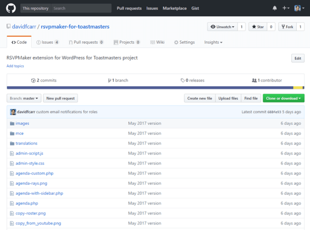 RSVPMaker for Toastmasters on Github