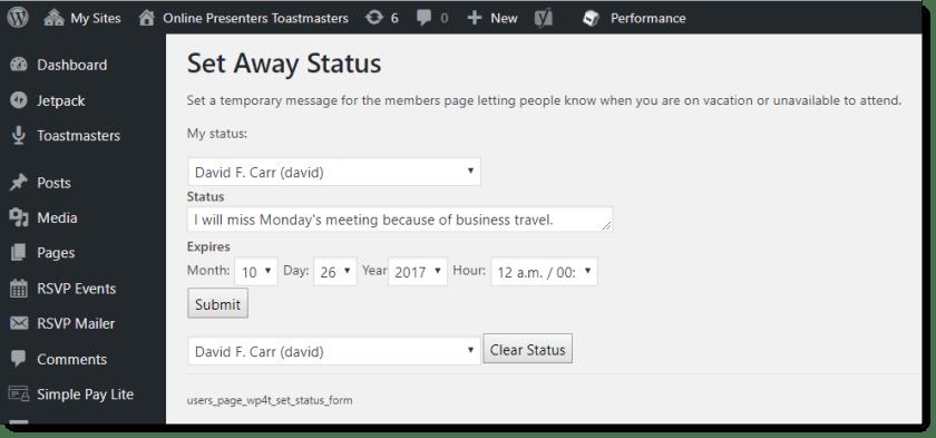 set away message