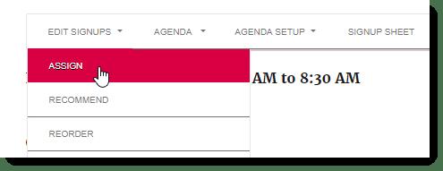 menu assign