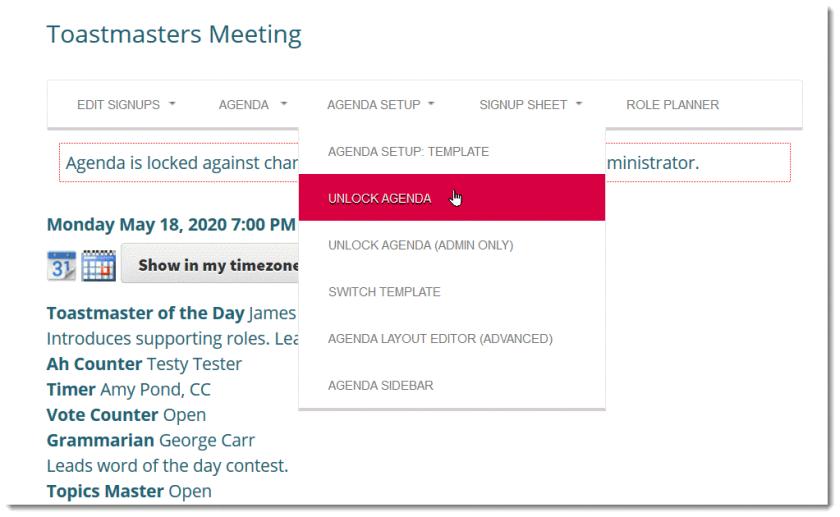 Screenshot: Manually lock the agenda