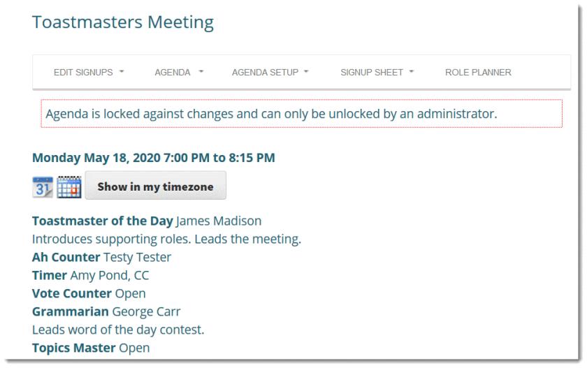 Screenshot: agenda is locked