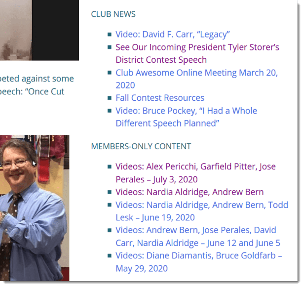 Members only sidebar widget for a Toastmasters club website