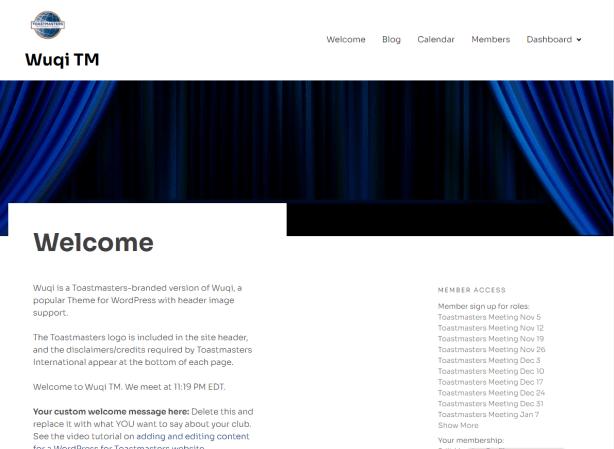Screenshot: Wuqi TM theme for Toastmaters club websites