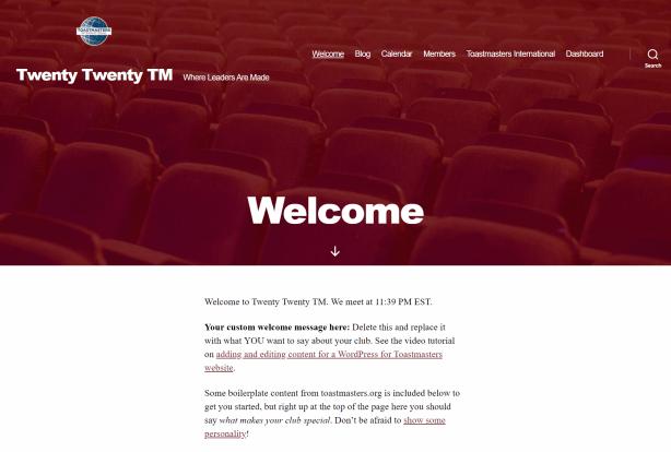 Screenshot: Twenty Twenty TM theme for Toastmaters club websites