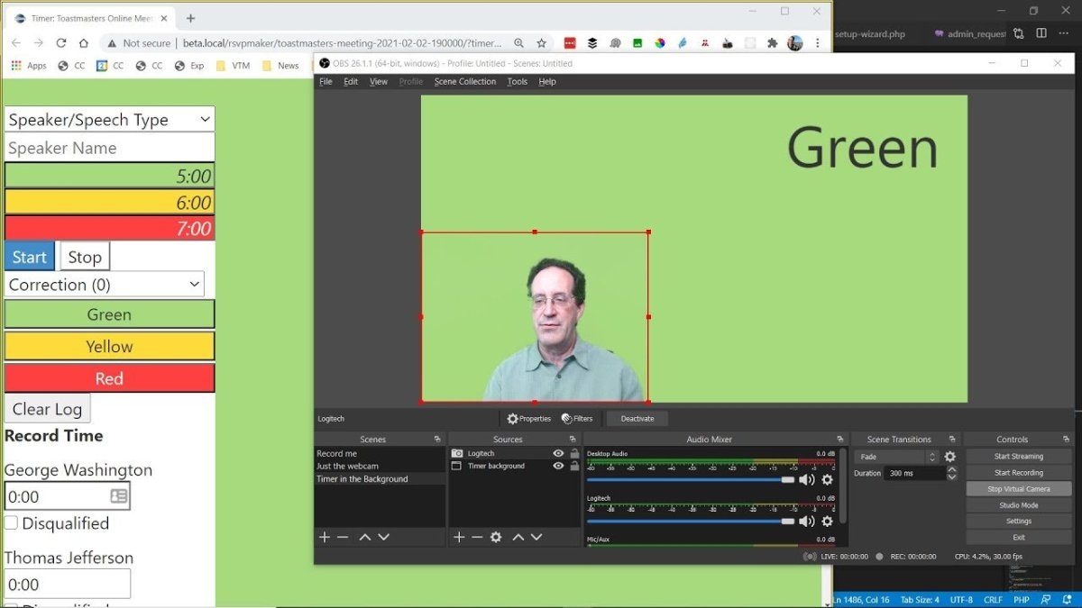 Showing the Online Toastmasters Speech Timer in Zoom, with OBS Studio (2021 Tutorial)