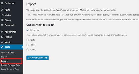 Exporting your WordPress site