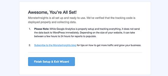 Đã cài đặt thành công Google Analytics bằng MonsterInsights