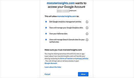 Cho phép MonsterInsights truy cập vào tài khoản Google Analytics của bạn