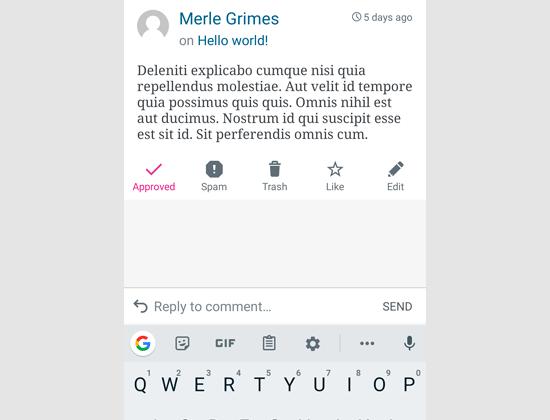 Replying a comment via WordPress app