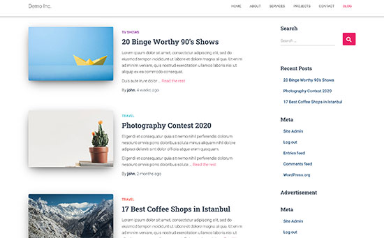 Featured images preview on a typical WordPress blog