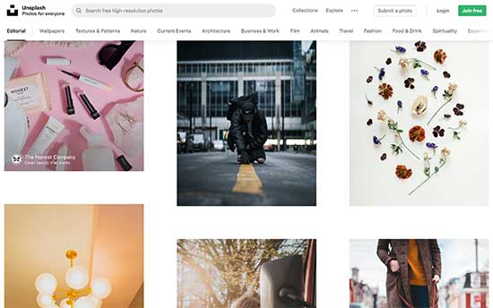 Unsplash is a popular free image resource for bloggers