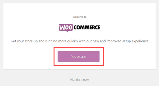 Click the button to start the setup wizard for WooCommerce