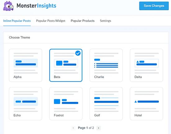 MonsterInsights Các mẫu bài đăng phổ biến