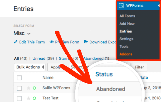 Abandoned form entries in WPForms