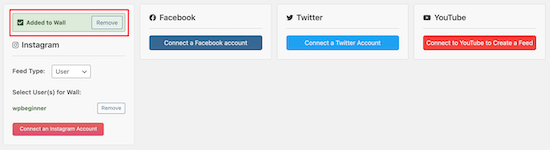 Add social media accounts to wall