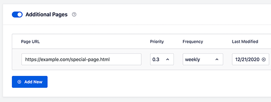 Adding additional pages to your sitemap