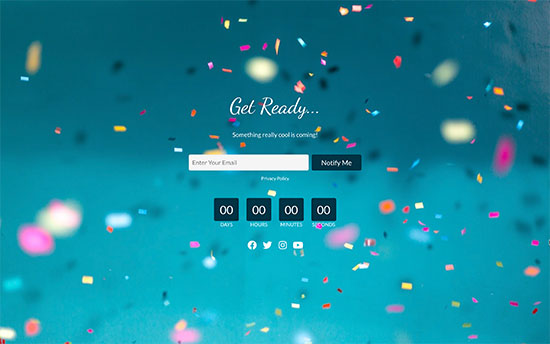 Coming soon page with fullscreen background image, lead signup form, and countdown timer