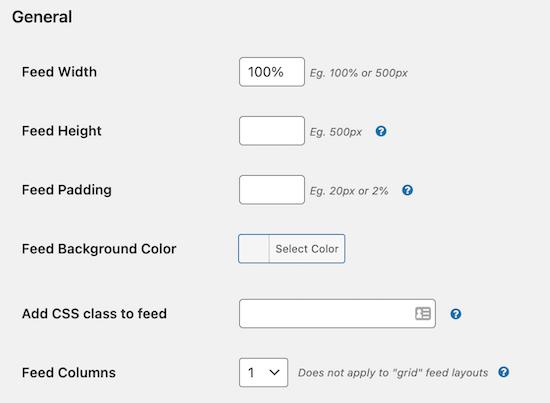 Smash balloon custom facebook feed customization options