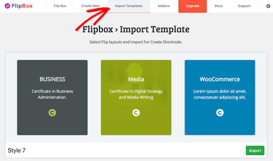 Import a flipbox template